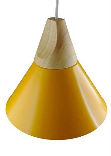 Suspension métal et bois jaune intérieur blanc