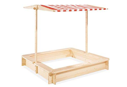 Pinolino Sandkasten Leonie aus Holz, inkl. absenkbarem Dach, Fassungsvermögen 160 l, von 1 bis 8 Jahren, unbehandelt