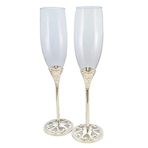 SALE Pair of Silver Plated Champagne Flutes with Ornate Hearts and Diamante Stem
