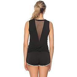Abollria Camiseta de Tirantes Mujer,Camisetas Chaleco Verano sin Mangas para Yoga Fitness y Deportes Negro,M