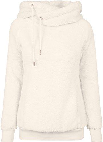Urban Classics Damen Kapuzenpullover Long Teddy Hoodie, lang geschnittener Teddy-Fleece-Pullover mit hohem Kragen, Kapuze und Känguru -Tasche - Farbe sand, Größe L
