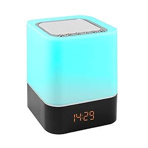 5 in 1 Nachttischlampe, Lichtwecker mit Bluetooth Lautsprecher und Touch, LED dimmbare farbwechsel Tischlampe Touchlampe Stimmungslicht Wecker, mp3 player, Freisprecheinrichtung-EINWEG