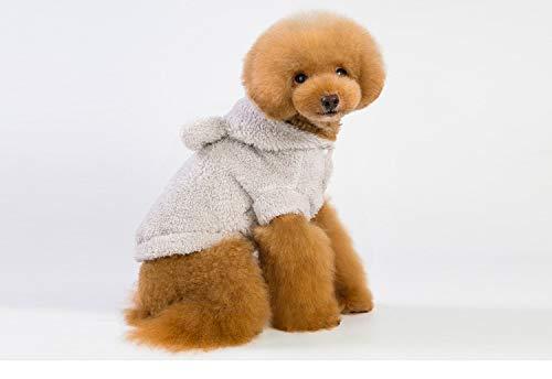 PZSSXDZW Herbst und Winter Neue Hundekleidung Ohr tragen Einfarbige Kapuze Verdicken Teddy Hund Grey X-Large (Pferd Ohr Kostüm)