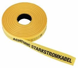 """Triuso Trassenband Warnband Trassenwarnband Einlegeband Grabenband Sicherheitsband Sicherungsband 40mm x 250m """"Achtung Starkstromkabel""""-gelb"""