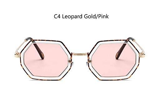 MoHHoM Sonnenbrille Luxus Hexagon Sonnenbrille Italien Marke Retro Gläser Der Berühmtheit Frauen Kleine Quadratische Sonnenbrille Leopard Gold Rosa