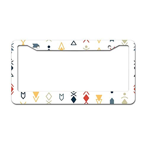 License Plate Frame Holder (DKISEE Tribal Seamless Pattern Background Chrome License Plate Frame Metal Auto License Plate Frame Car Licenses Plate Cover Holder for US Vehicle 6 x 12 inch)