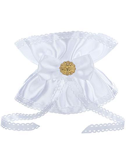 Princess Taufkleid Taufkerzen Modell 8 weiß/Gold Größe bis 5cm Durchmesser Tropfenfänger Tropfschutz Taufe Kommunion