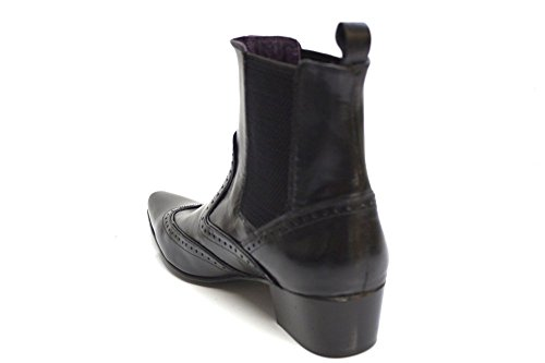 Gucinari Chaussures richelieu en cuir noir Smart cubain talon cheville bottes taille UK 6-12 Noir