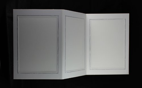 5 Stück weiße Foto - Portraitmappen, für Bildformat 13x18 cm, Fotomappen, Leporellos, 3-teilig, Passepartout mit feinem Silberrand