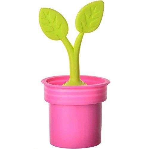 La chaise longue 31-K2-090 Infuseur à thé Plante verte en pot rose Silicone
