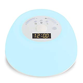 ANYOYO Alarm Clock Sunrise Wake-up Light Sleep Aid Night Light with White Noise and Smart Snooze Function Bedside Lamp 8 Natural Sounds 256 RGB Colors Best Gift for Bedroom Kids Christmas