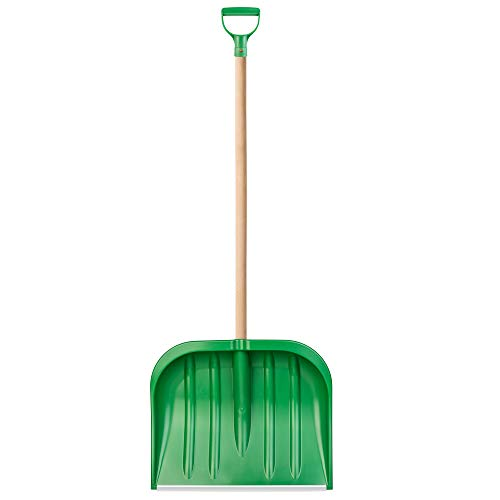 KADAX Schneeschaufel mit ergonomischem Griff, Blattbreite: 49 cm, Kunststoff-Blatt, Schneeschieber, ideale Schneeschippe für kleine und große Schneemengen, Schneeräumer, stabil (Holzstiel, grün)