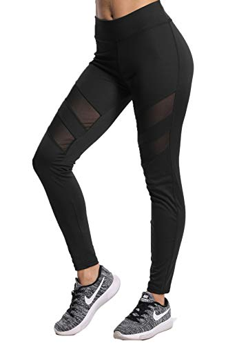 FITTOO Mallas Pantalones Deportivos Mujer Yoga Leggings de Alta Cintura Elásticos y Transpirables para Running Fitnes32k #2 Negro Small
