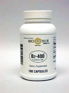 Bio-Tech Vitamin B2-400, Riboflavin 400 mg, 100 capsules, Tiny soft and easy to swallow by Bio-Tech