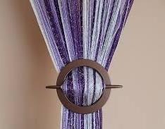 AeMBe - Rideau à Cordes, Rideau de Fil, Le Rideau à la Porte - Largeur: 150 cm, Hauteur: 250 cm - Blanc / Violet Foncé / Violet clair / Argent - Meilleure Qualité