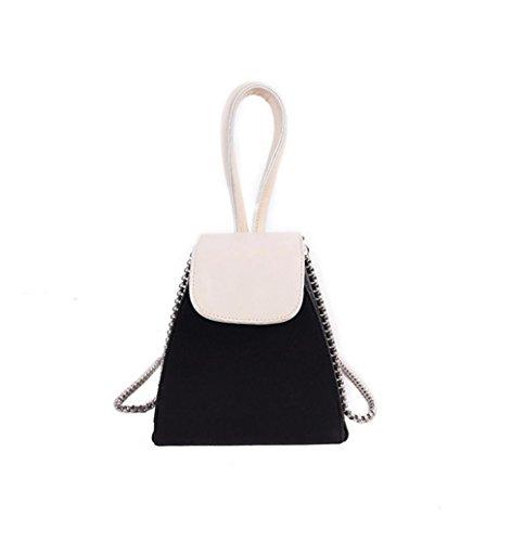 borsa catena YANX signora modo di colore della borsa dell'unità di elaborazione signore spalla Tote BYXin abbigliamento moda PU colore catena borsa borsetta borsa a tracolla borsa a mano , black