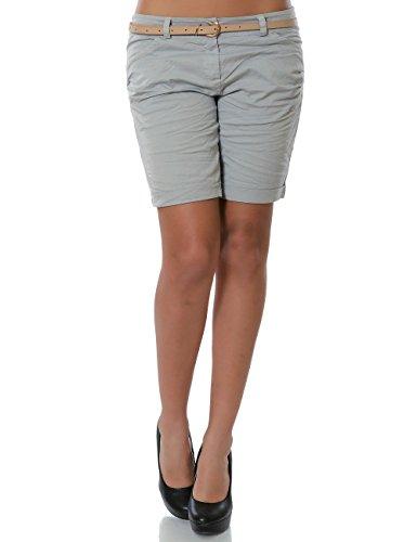 Damen Shorts Chino Kurze Hose inkl. Gürtel (weitere Farben) No 13908, Farbe:Grau;Größe:38 / M