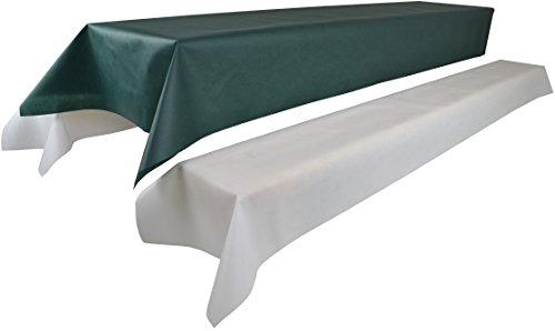 Bierzeltgarnitur 1 Tischdecke (Farbe & Breite nach Wahl) (1 x 2,5m, grün) und zwei weiße...
