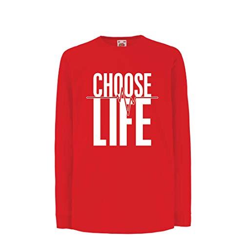 lepni.me Kinder-T-Shirt mit Langen Ärmeln Wählen Sie das Leben Herzschlag, Anti-Abtreibung politischen Protest, Christian Zitat (5-6 Years Rot Mehrfarben)