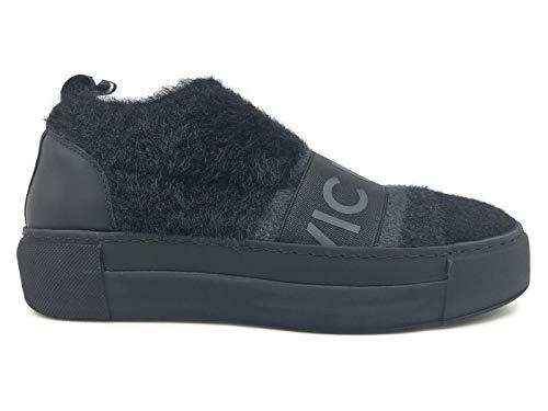 Vic Firth Matie  6702 Negro Zapatillas para Mujer de Tejido y Piel Negra  Negro Size 1ef6b85ef2e
