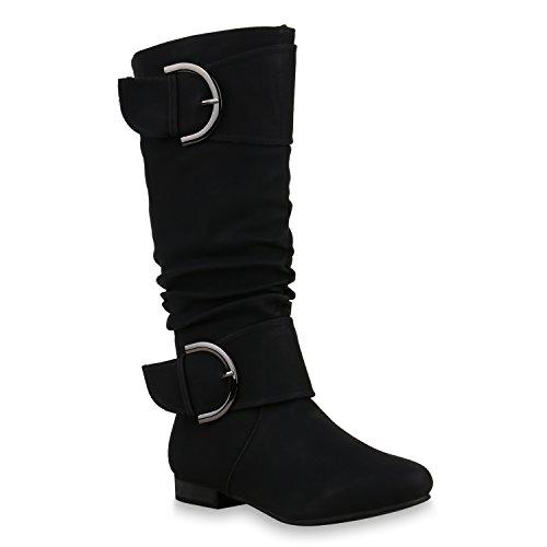 Flache Damen Stiefel Langschaft Boots Leder-Optik Schuhe 129415 Schwarz 38 Flandell