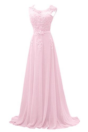 Gorgeous Bride Modisch Lang Rundkragen A-Linie Chiffon Tuell Spitze Schleppe Abendkleider Festkleider Ballkleider -38 Rosa (A-linie Chiffon Abendkleid)