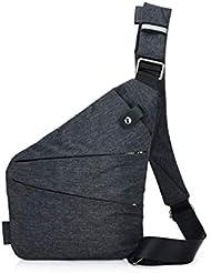 Ovecat Sling Bag Crossbody Spalla Petto Zaino antifurto a ghigliottina, per Uomo Donna, Dark Grey, S