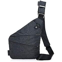 Ovecat Sling Bag Crossbody - Bolsas de Hombro para el Pecho, antirobo, para Hombres y Mujeres, Gris Oscuro, Small