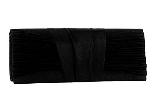 Borsetta donna JEAN MARTEN nera pochette in raso con fascia centrale N521