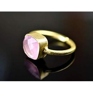 925 Sterling vergoldeter Edelstein-Ring mit Rosenquarz