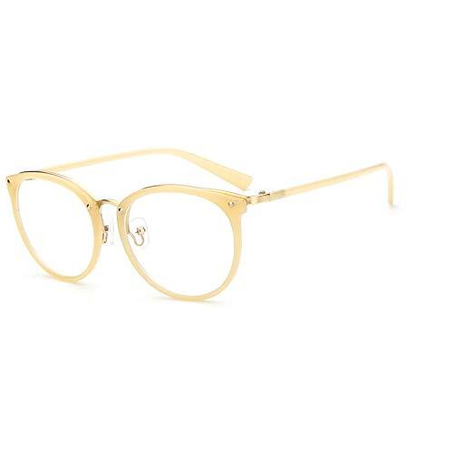 YMTP Frauen Optische Brillengestell Frauen Brillen Groß Metall Optischen Rahmen Klar Brille Verschreibungspflichtigen Brillen, Milch Gelb