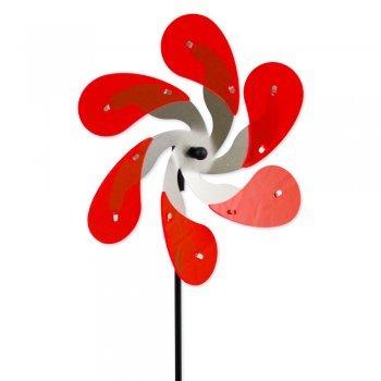 Sun Dancer Mix DROPS Éolienne en acier inoxydable Rouge Extrêmement résistant aux intempéries Ø 30 cm Profondeur 7 cm Avec piquet de 90 cm stand et ancrage au sol