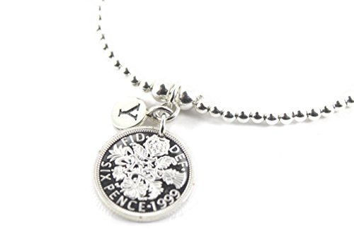 Sterling Silver Ball Beads Bracelet with 2000 Sixpence Design and Initial charm