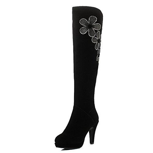AllhqFashion Damen Hoher Absatz Rund Zehe Blend-Materialien Rei脽verschluss Stiefel Schwarz-Wasser Diamanten