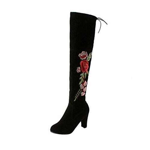 l, Sunday Frauen Rose Sticken Oberschenkel Hohe Overknee Stiefel Flock High Heels Schuhe Unterhaltung Freizeit Party Arbeit Hochzeit Stiefel (Schwarz, 37 EU) (Oberschenkel Hohe Schuhe)