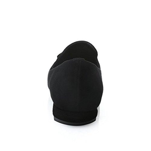 Damen Slipper Nubukleder Einfach Schick Pailletten Blockabsatz Bequem Low-top Atmungsaktive Rutschfest Abriebfeste Halbschuhe Schwarz