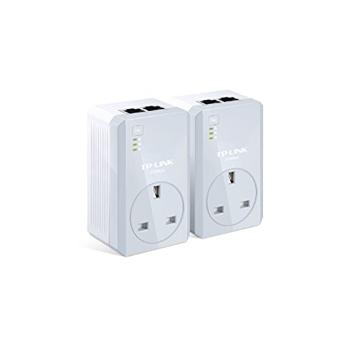 TP-LINK TL-PA4020PKIT AV500 Two-Port Powerline Adapter with AC Pass Through Starter Kit - Twin Pack