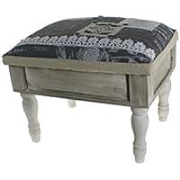 CAL FUSTER - Caja costurero de madera rústico con patas. Medidas totales: 31x30x40 cm.