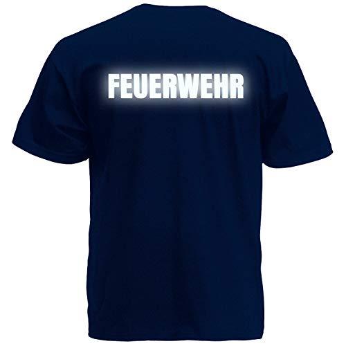 Shirt-Panda Herren Feuerwehr T-Shirt - Druck Brust & Rücken Dunkelblau (Druck Reflektierend) 3XL (Gedruckt Rücken T-shirt)