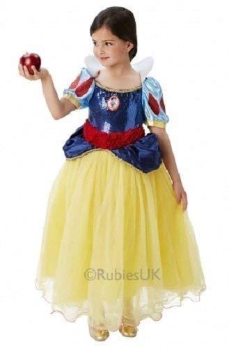 Offiziell Disney Mädchen Super Luxus Pailletten Märchenprinzessin Büchertag Woche Halloween Kostüm Kleid Outfit - Schneewittchen, 5-6 years