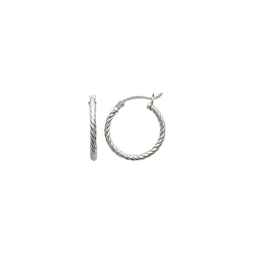 Ohrringe Sterling Silber 925/000–Creoles Relief Zopfmuster–Durchmesser 20mm–Breite 2mm