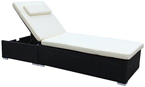 Brema 052263 Alu-Geflecht Liege Gestell schwarz, Kissen beige, Rückenlehne verstellbar