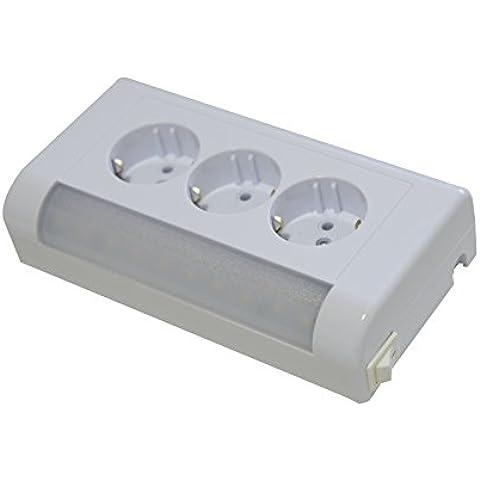 Presa combinata su un supporto, completo, nuovo, sopra intonaco, 3 prese, con lampada a LED, 400 lm 4 W