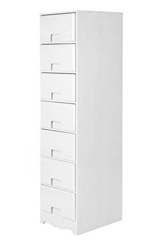Weiß 7 Schublade (Unbranded Nachtschrank Nachttisch Beistellschrank Schlafzimmer Schränkchen Kommode Retro Weiß (7 Schubladen - K39))