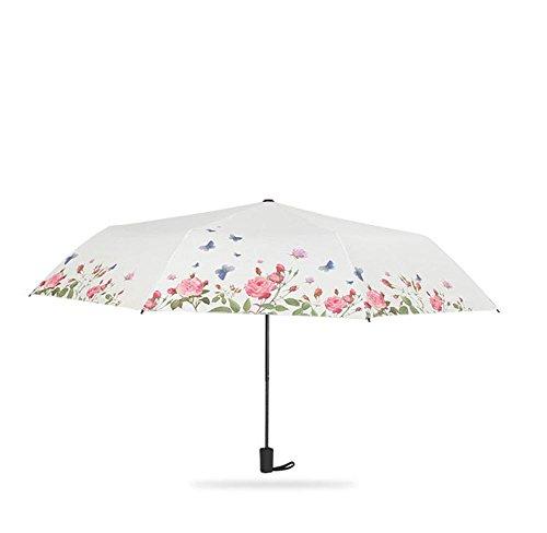 YAKADE Women Es Sonnenschirme Bedruckt Sonnenschirme Schwarze Vinyl UV-Schirme Drei-Fach Sonnenschirme