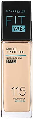 Maybelline New York Fit Me Matte+Poreless Liquid Foundation (With Pump & SPF 22), 115 Ivory,