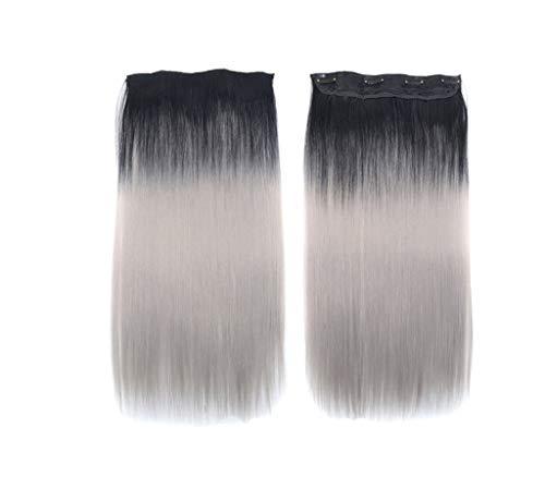Luckhome Synthetische Haare Haarverdichtung Glatt Haarverlängerungen Gerade Haarverlängerung Lange Haarteil Für Mode Sexy Frauen(B) - Synthetische Haarverlängerungen