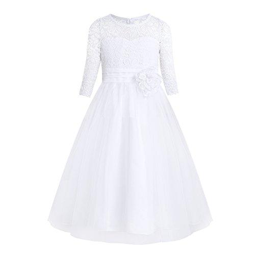 iEFiEL Kinder Mädchen Kleider Festlich 1/2 Arm Blumenspitze Lang Brautjungfern Kleid Prinzessin...