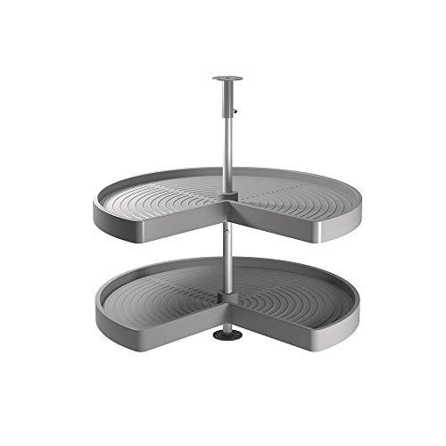 Emuca - Guarnitura Girevole per Mobile ad Angolo di Cucina, cestelli girevoli 3/4 di Ø710mm per Base di 800mm, Grigio