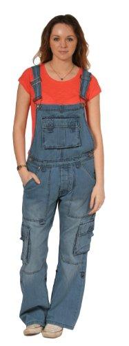 Latzhose, Cargo Taschen - Light Wash Damen Männer Denim Jeanslatzhosen Jeans-Lat PEV05-L